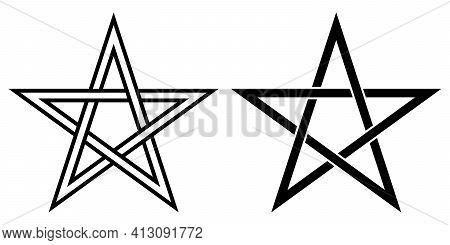 Pentacle Transparent, Pentagonal Star, Vector Sign Of Magic, Esoteric Or Magic Symbol Occultism And