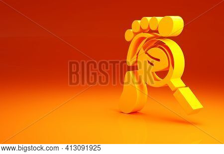 Yellow Magnifying Glass With Footsteps Icon Isolated On Orange Background. Detective Is Investigatin