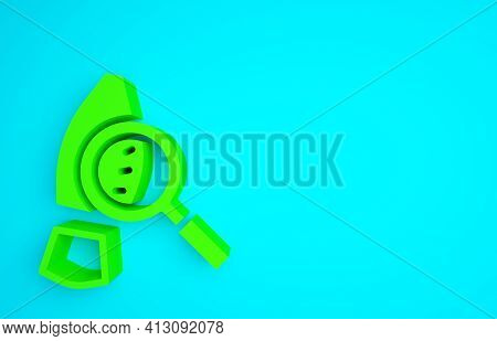 Green Magnifying Glass With Footsteps Icon Isolated On Blue Background. Detective Is Investigating.