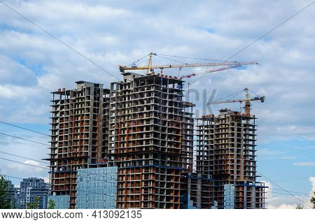 Panoramic View Onto Construction Of New Complex Of High-rise Buildings. There Are Cranes, Scaffoldin