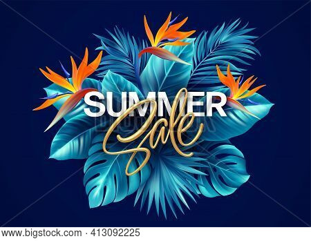 Summer Tropical Background With Strelitzia Flowers And Tropical Leaves. The Golden Inscription Summe