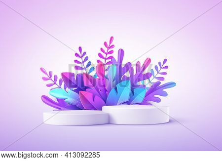 Realistic Product Podium With Fantastic Tropical Leaves. Product Podium Scene Design To Showcase You