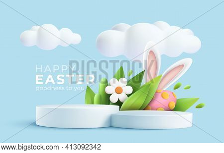 3d Trendy Easter Greeting With 3d Product Podium, Spring Flower, Cloud, Easter Egg And Bunny. Spring