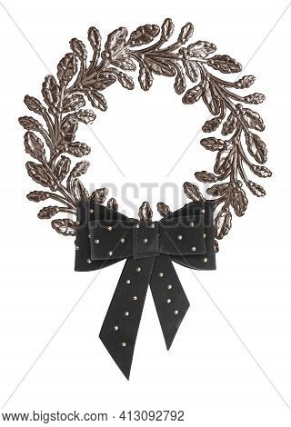 Silver Frame With Black Mourning Bow For Paintings, Mirrors Or Photo Isolated On White Background. D
