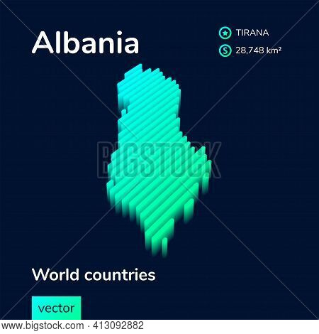Stylized Neon Digital Isometric Striped Vector Albania Map With 3d Effect. Map Of Albania Is In Gree