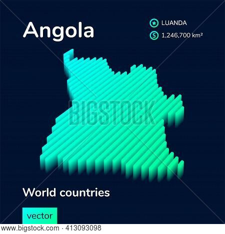 Stylized Neon Digital Isometric Striped Vector Angola Map With 3d Effect. Map Of Angola Is In Green