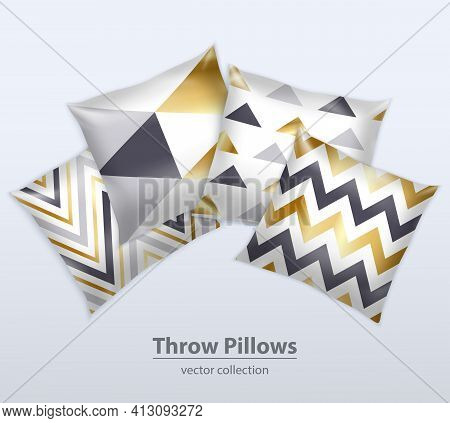 Decorative Interior Cushions Throw Pillows Satin Covers Design Patterns Realistic Composition Grey B
