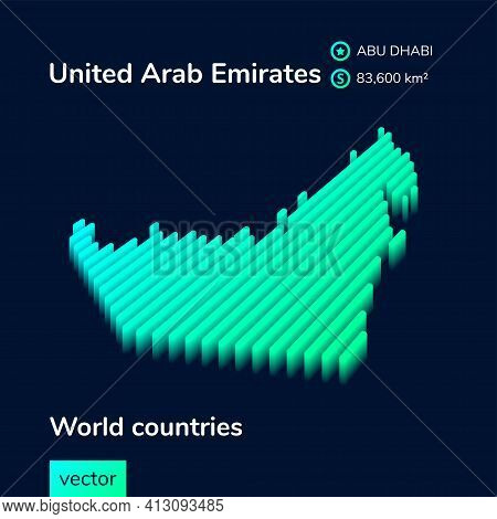 Stylized Isometric Digital Neon Striped Vector United Arab Emirates Map With 3d Effect. Map Of Unite