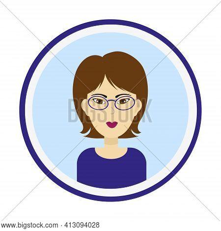 Female Avatar. Cute Woman Portrait On Blue Background. Girl Face With Medium Length Brown Hair, Brow