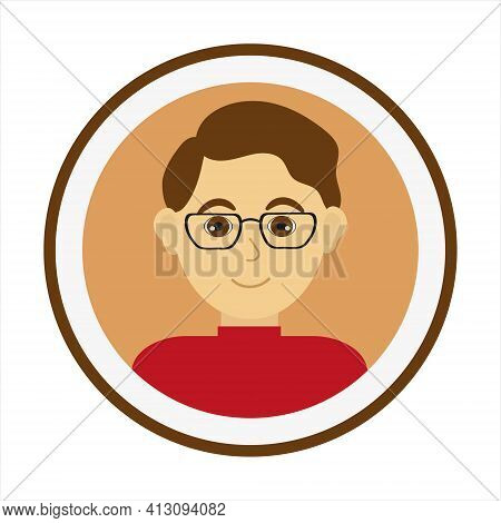 Smiling Man Face With Brown Hair And Wearing Glasses And Red Turtleneck Sweater. Male Face. Man Avat