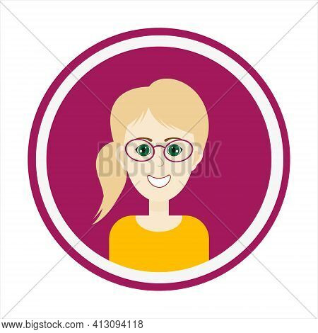 Female Avatar. Cute Woman Portrait On Purple Background. Smiling Girl Face With Blond Hair, Side Pon