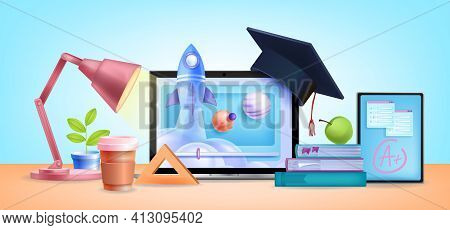 Online Education School, Internet University Training Courses Background, Laptop Screen, Lamp, Home