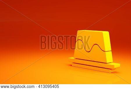 Yellow Pudding Custard With Caramel Glaze Icon Isolated On Orange Background. Minimalism Concept. 3d