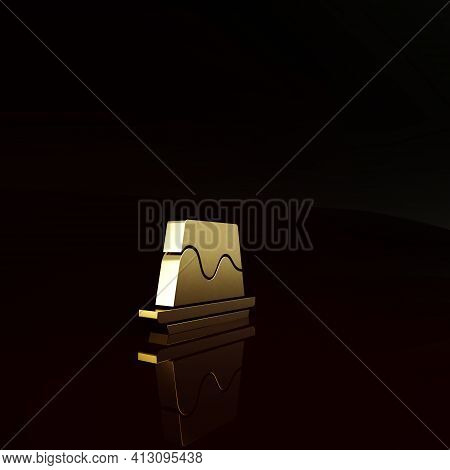 Gold Pudding Custard With Caramel Glaze Icon Isolated On Brown Background. Minimalism Concept. 3d Il
