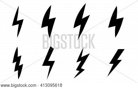 Vector Set Of Black Lightning Bolt Icon. Thunder Bolt Flat Style. Electric Charge Icon For Apps And