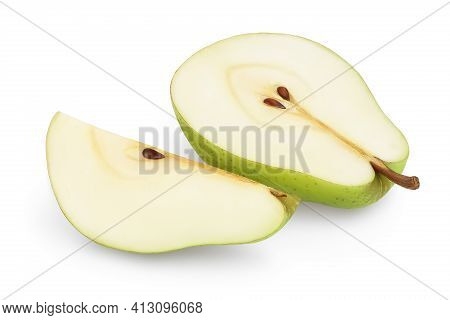 Green Pear Fruit Half And Slice Isolated On White Background With Clipping Path And Full Depth Of Fi