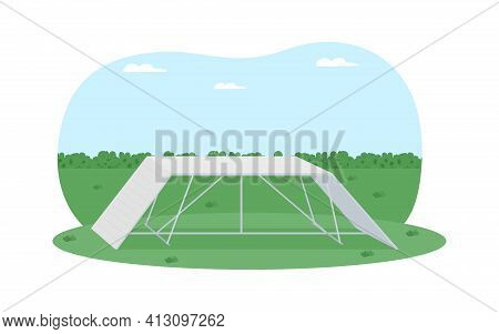 Obstacle Course For Pet Training 2d Vector Web Banner, Poster