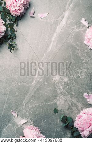 Floral Pattern, Frame Made Of Pink Peonies, Eucalyptus Flowers On Marble Background. Flat Lay, Top V