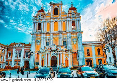 Catholic Church Of St. Casimir  On Street Didzioji   In The Historic Part Of The Old City Of Vilnus.