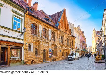 Downtown Of The City, On Pilies Street In The Historic Part Of The Old City Of Vilnus. Lithuania.