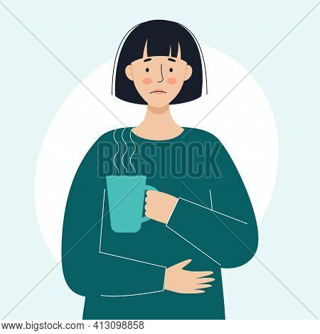 A Sick Woman Holds A Mug With A Hot Medicinal Drink In His Hand. The Concept Of Sick People, Colds A