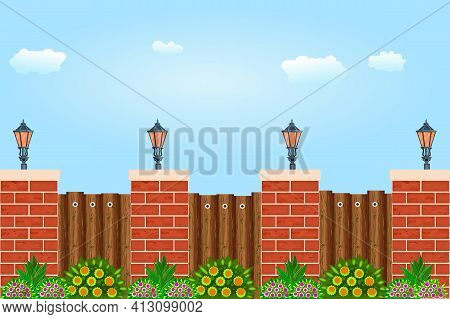 Wooden Fence Against The Sky. Wooden Fence With Pillars Of Bricks, Street Lamps, Green Plants And Bl