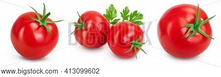Tomato With Slices Isolated On White Background With Clipping Path And Full Depth Of Field. Set Or C