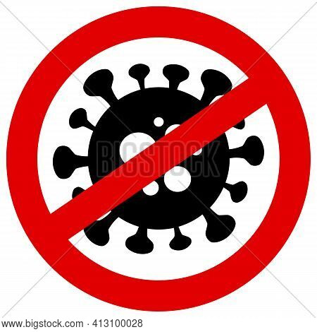 Stop Covid-19 Sign And Symbol Vector Illustration Isolated On White Background.