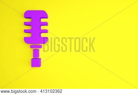 Purple Microphone Icon Isolated On Yellow Background. On Air Radio Mic Microphone. Speaker Sign. Min