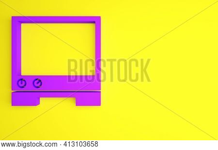Purple Voice Assistant Icon Isolated On Yellow Background. Voice Control User Interface Smart Speake