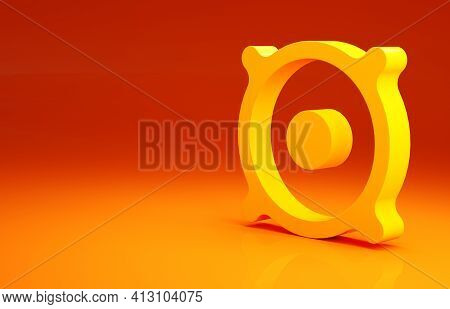 Yellow Stereo Speaker Icon Isolated On Orange Background. Sound System Speakers. Music Icon. Musical
