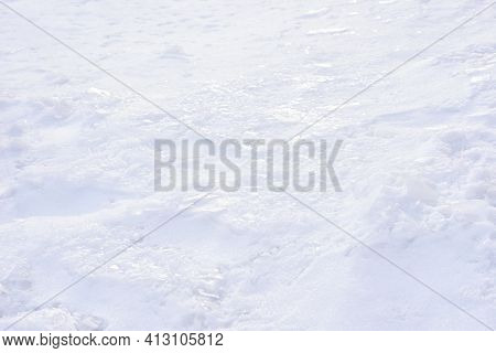 Snow Crust - A Layer Of Ice Over A Layer Of Snow. Texture, Pattern, Winter Background.