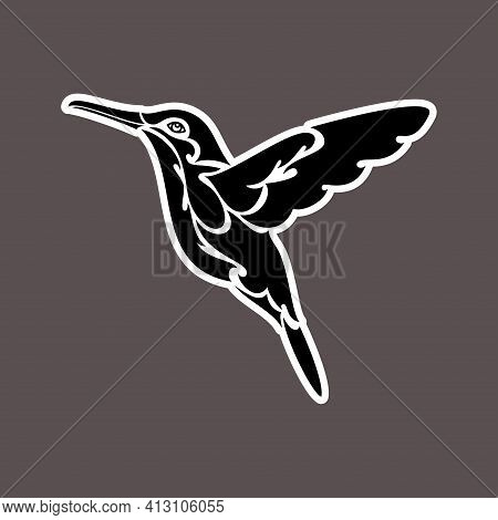 Hand-drawn Abstract Portrait Of A Hummingbird. Sticker. Vector Stylized Illustration Isolated On Dar