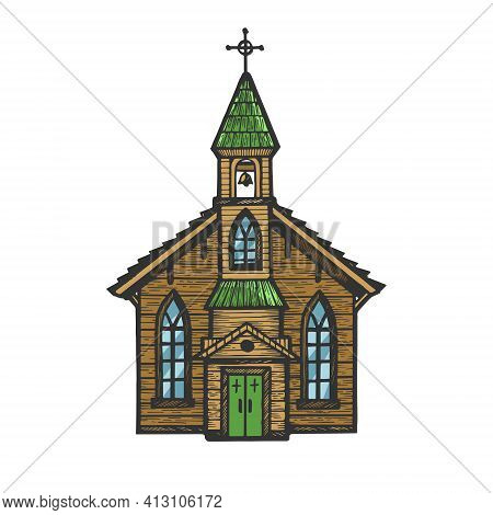 Old Wooden Church Chapel Color Sketch Engraving Vector Illustration. Scratch Board Style Imitation.