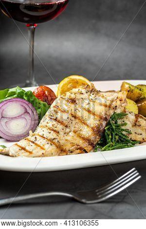Grilled Seabass Fillet With Garnish, Seafood Fish Dish Elegant Presentation