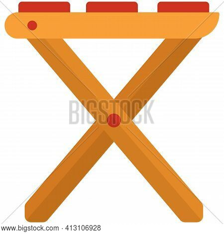 Wooden Stool Vector Isolated On White Background