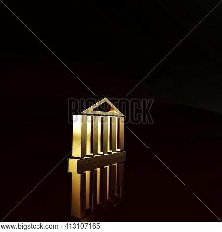 Gold Parthenon From Athens, Acropolis, Greece Icon Isolated On Brown Background. Greek Ancient Natio