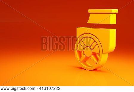 Yellow Ancient Greece Chariot Icon Isolated On Orange Background. Minimalism Concept. 3d Illustratio