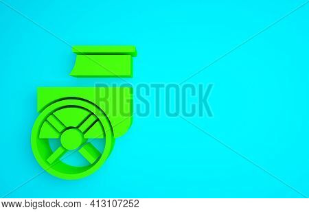 Green Ancient Greece Chariot Icon Isolated On Blue Background. Minimalism Concept. 3d Illustration 3