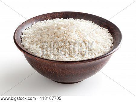 Uncooked Jasmine Rice In Ceramic Bowl Isolated On White Background
