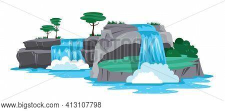 Nature Landscape Horizontal Illustration With Cascades Of Waterfall And Rocks Cartoon Vector Illustr
