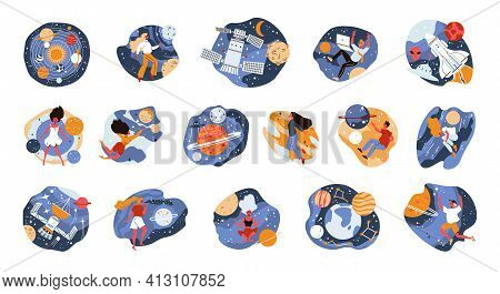 Space Set Of Isolated Compositions With No Gravity Space Constellations Of Stars Planets And Human C