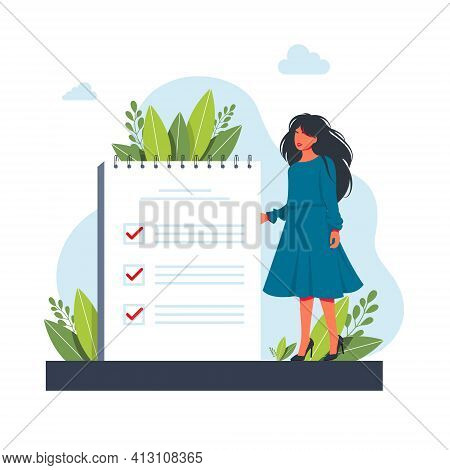 Woman, Manager Prioritizing Tasks In To Do List. Woman Taking Notes, Planning His Work, Underlining