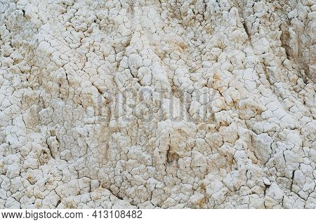 Close-up White Clay Texture, Background From Light Soil Surface, Material Outdoors, Horizontal Photo