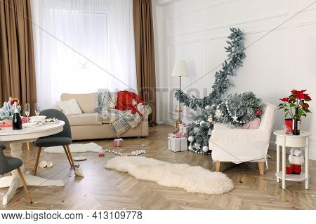 Mess In Room After New Year Party