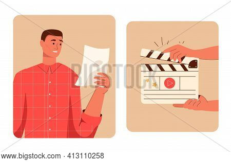 Movie Making Scene Set. Actor Reads Script. Hands Holding Director Clapperboard