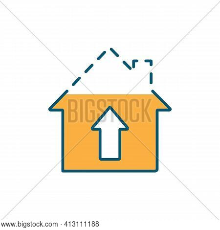 House Building Process Rgb Color Icon. Construction Site. Living Accommodations. House Structure. Bu