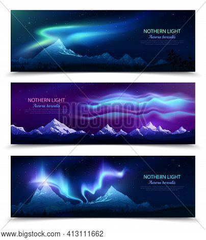 Northern Lights Aurora Borealis Night Sky And Landscape 3 Colorful Realistic Horizontal Banners Set