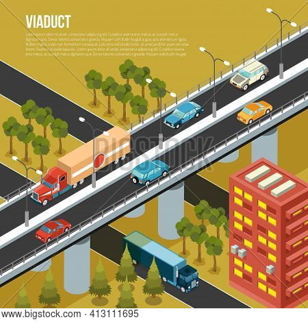 Vehicular Viaduct Bridge Carrying Traffic Over Busy Outskirts City Streets And Adjacent Valley Isome