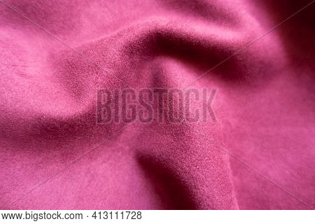 Cerise Colored Faux Suede Fabric In Soft Folds